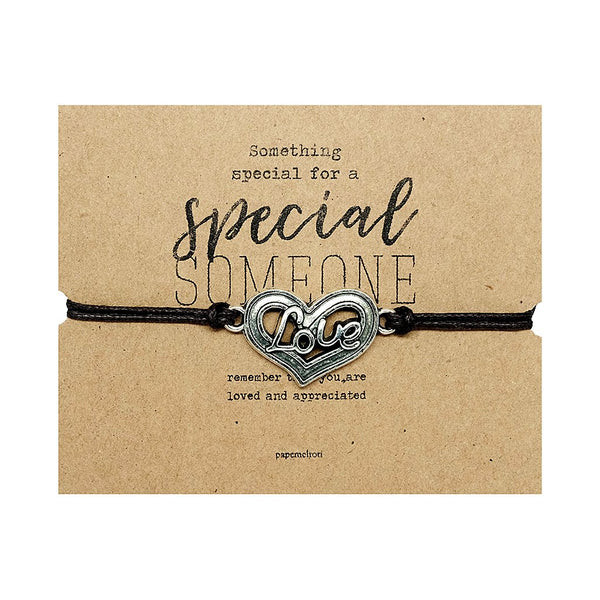 Love Heart Cord Bracelet Jewelry Gift Card