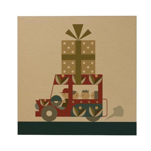 Jeepney with Gift Square Greeting Card