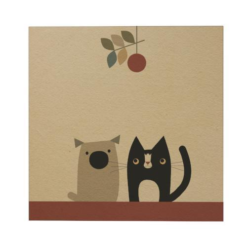 Cat and Dog Square Greeting Card