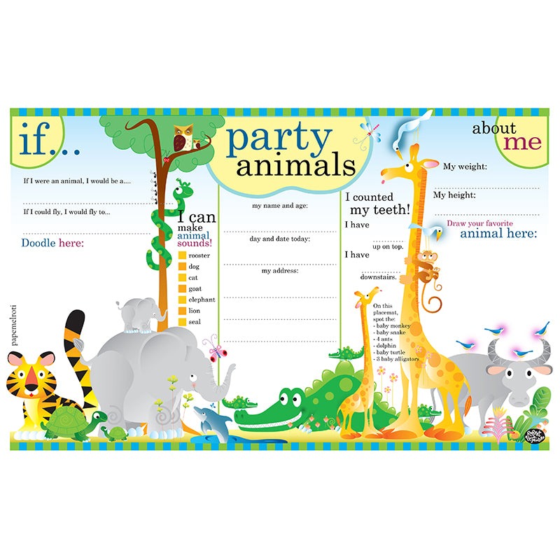 Party Animals Printable Party Placemat
