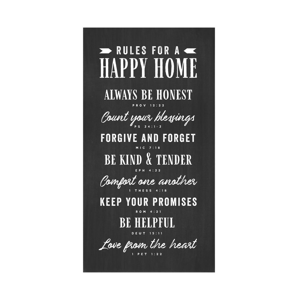 Rules For A Happy Home Flat Silkscreen Wall Art