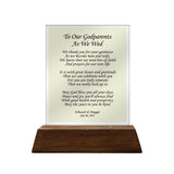 To Our Godparents As We Wed Personalized Glass Plaque