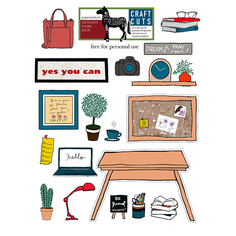 Work Desk Printable Craft Cuts Freebie