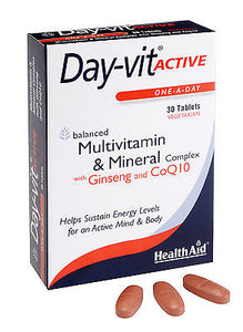 HEALTHAID DAY-VIT ACTIVE -ONE-A-DAY-30 VEGE TABLETS - VITS & MINS+GINSENG COQ10