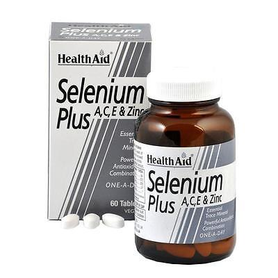 HealthAid Selenium Plus A,C,E & Zinc - 60 Vegan Tablets - Powerful Antioxidant