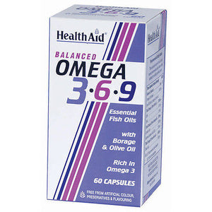 HEALTHAID OMEGA 3-6-9 ESSENTIAL FISH OILS 60 CAPSULES - WITH BORAGE & OLIVE OIL