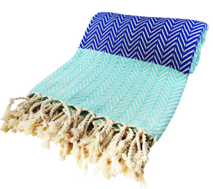 Morganicsbeauty Turkish Hammam Peshtemal, Beach Towel Blue/ Turqoise 100x180