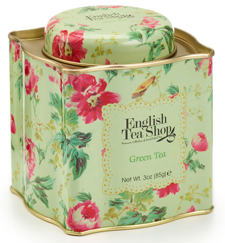 English Tea Shop Organic Green Tea - Floral Pattern Tin - 85g Loose Leaf Tea