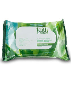 Faith In Nature 3-in-1 Facial Wipes Pack Of 25