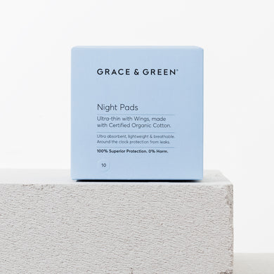 Grace & Green - Pack of 10 Night Pads with Wings