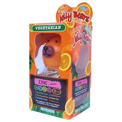 Jelly Bears Vegetarian Zinc in Fruit Bear Gummies (Orange) -Gelatin, Gluten Free