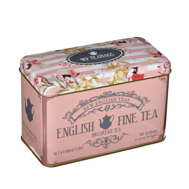 New English Teas Floral Tea Tin with 40 English Breakfast Teabags