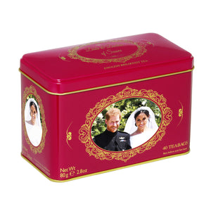 New English Teas Harry & Megan Tea Tin with 40 English Breakfast Teabags