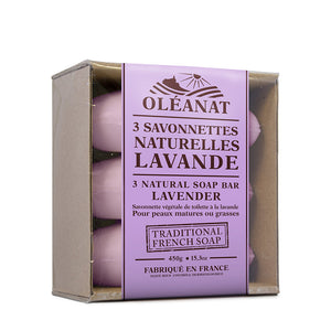 Oleanat Natural French Soap Bars Lavender 3x150g 100% Vegetable Based