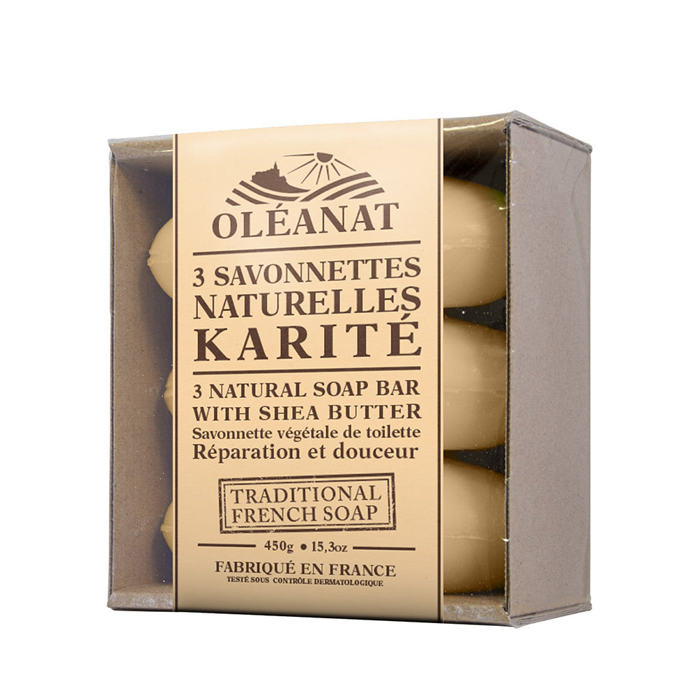 Oleanat Natural French Soap Bars Shea Butter 3x150g 100% Vegetable Based