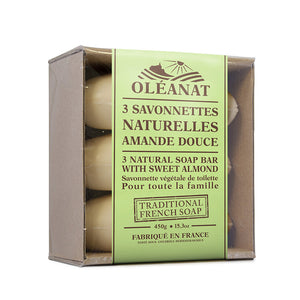Oleanat Natural French Soap Bars Sweet Almond 3x150g 100% Vegetable Based