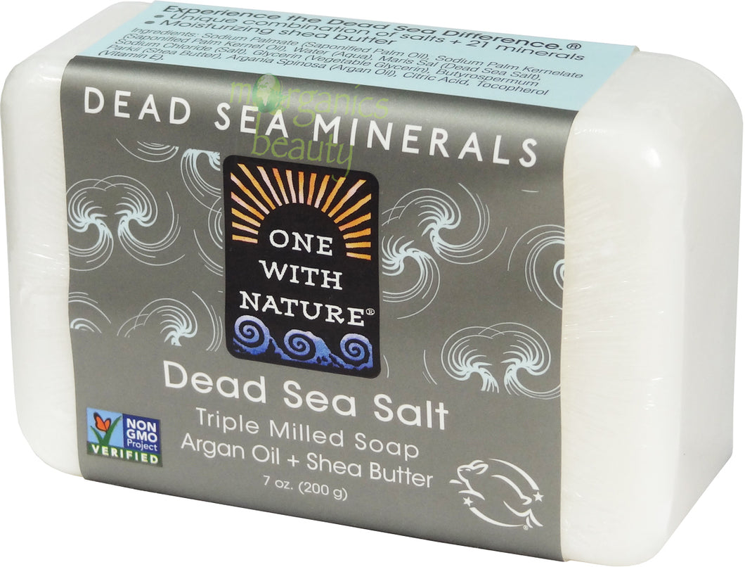 One With Nature Dead Sea Mineral Salt Soap with Argan Oil & Shea Butter (Fragrance Free) 200g