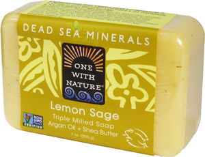 One With Nature Lemon Sage Soap with Dead Sea Minerals, Argan Oil, Shea, Lemon Essential Oil 200g