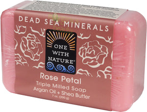 One With Nature Rose Petal Soap with Dead Sea Minerals, Argan Oil & Shea Butter, and Rose Petals 200g