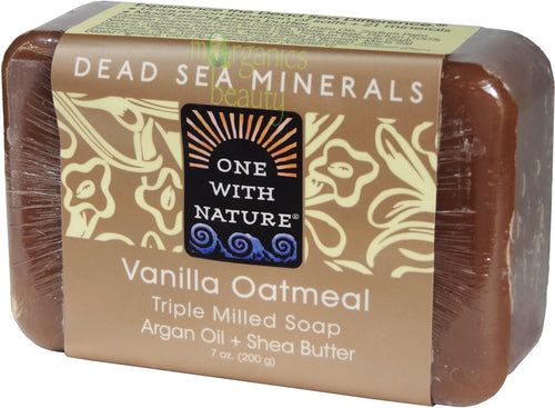 One With Nature Vanilla Oatmeal Soap with Dead Sea Minerals, Argan Oil & Shea Butter 200g