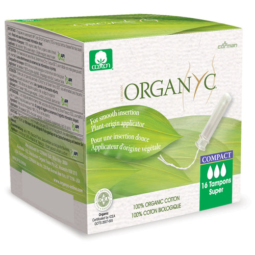 Organyc Organic Cotton Compact Tampon With Applicator - Super 16 Pack