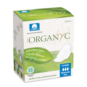 Organyc Organic Cotton Sanitary Pads with Wings Moderate Flow - Box of 10