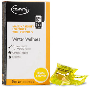 Comvita Manuka Lemon & Honey Lozenges with Propolis - 12 Drops - mOrganics beauty