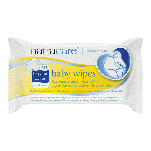 Natracare Organic Cotton Baby Wipes - Pack of 50