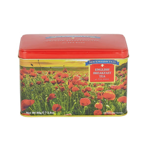 New English Teas Poppy Tea Tin with 40 English Breakfast Teabags (RS75)