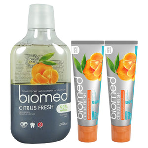 Splat Biomed Citrus Fresh Toothpaste 2x100g and Mouthwash 500ml Bundle