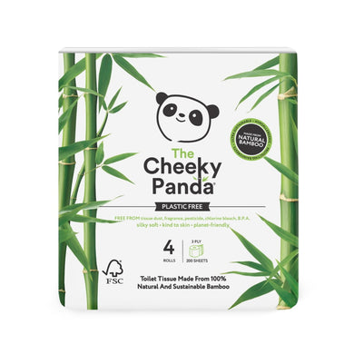 The Cheeky Panda Bamboo Toilet Paper 4 Rolls - Plastic Free Packaging