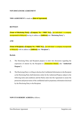 Non Disclosure Agreement Nda Template Burgielaw Store