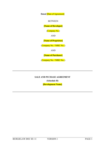 Sale And Purchase Agreement Schedule H Template BurgieLaw Store - Store schedule template