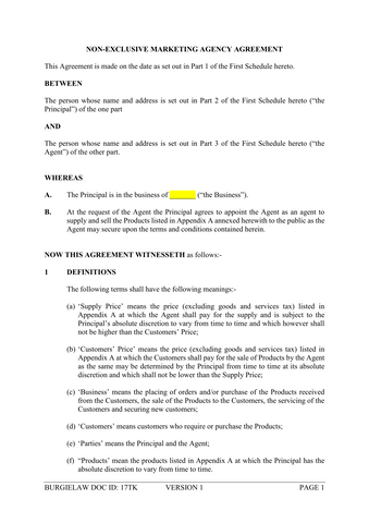 Non Exclusive Marketing Agency Agreement Template