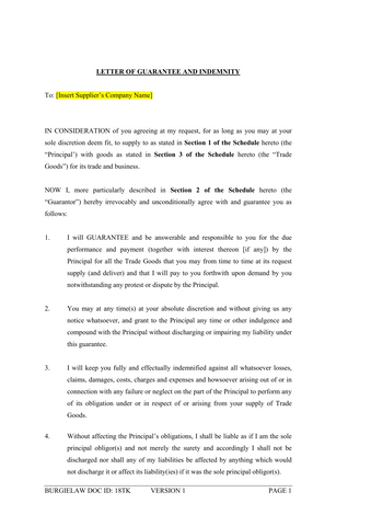 Letter of Guarantee and Indemnity (Supplier) Template – BurgieLaw Store