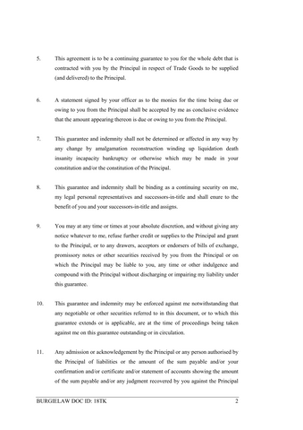 Letter Of Guarantee And Indemnity Template  Indemnity Template
