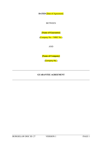 Guarantee Agreement Template Burgielaw Store