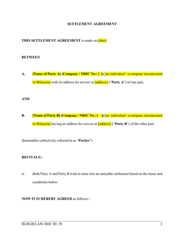 Settlement Agreement Template Burgielaw Store