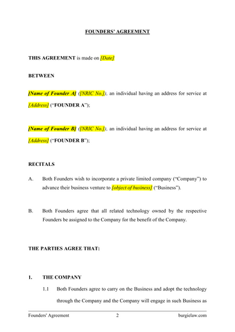 Founders Agreement Template Burgielaw Store