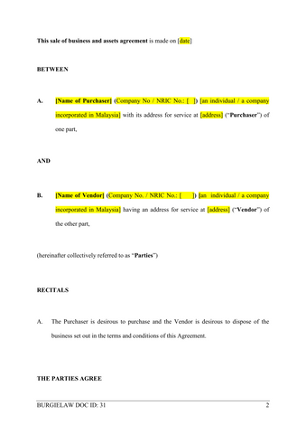 Sale of business and assets agreement template burgielaw store sale of business and assets agreement template wajeb Image collections