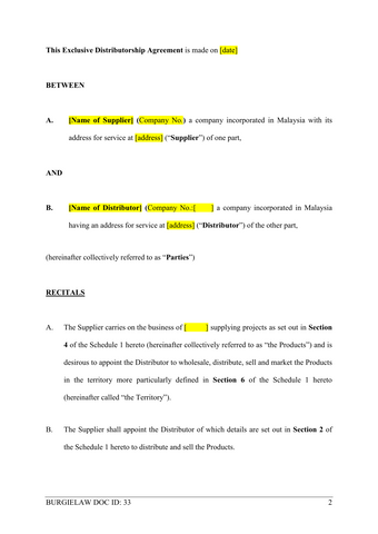 Exclusive Distributorship Agreement Template Burgielaw Store