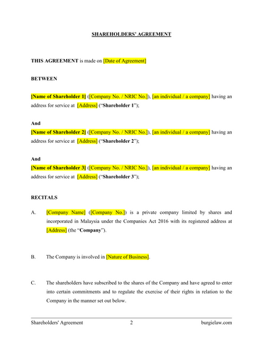 No shareholders agreement gallery agreement letter format for Shareholder buyout agreement template