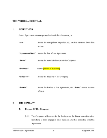 Shareholders' Agreement Template – BurgieLaw Store