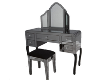 Smoked Mirror Dresser Set Inlcuding Mirror Table + Stool