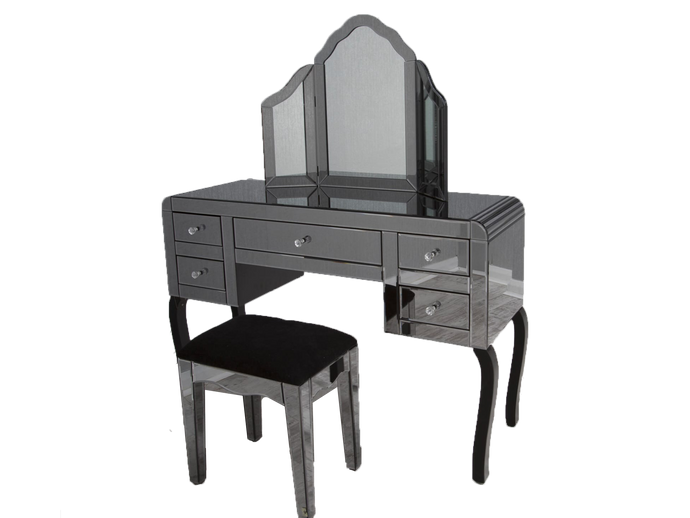 Smoked Mirror Dresser Set Inlcuding Mirror Table + Stool - Gables Beds