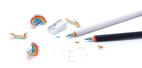 white and black rainbow pencil with rainbow sharpenings