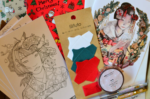 gold leaf washi tape mini envelopes Erica Ward Art colouring postcards and 'maiko' Christmas card