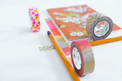 Japanese masking tapes, Mitsubishi pencils and a postcard