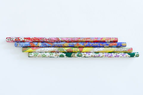 Pencils wrapped in patterned Japanese washi paper