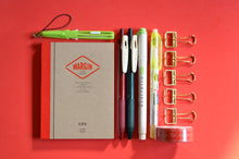 Life Stationery Notebook, pencut mini scissors, SARASA pens, Mildliner, erasable highlighter, gold bulldog clips, washi tape
